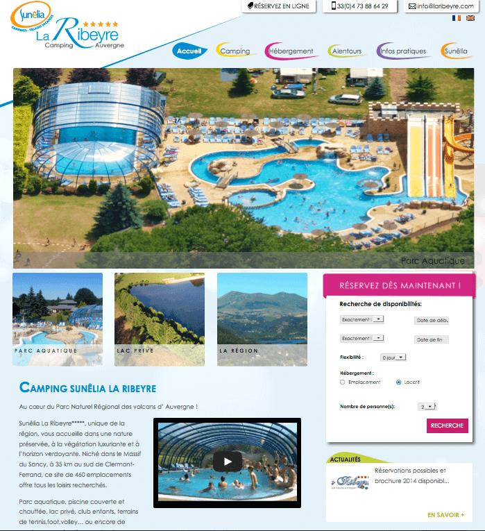 Page d'accueil du camping La Ribeyre