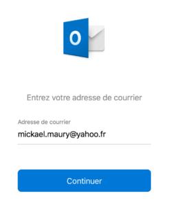 Page de bienvenue Outlook 2016