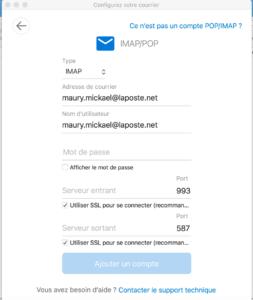 Outlook - Configuration manuelle