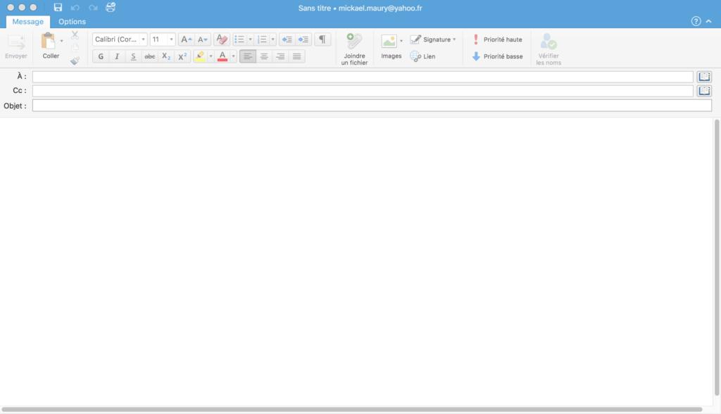 Outlook 2016 - Nouveau message
