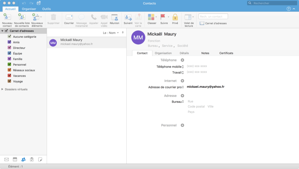 Outlook - gestion des contacts