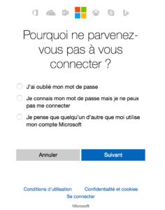 Récupération de mot de passe compte Microsoft