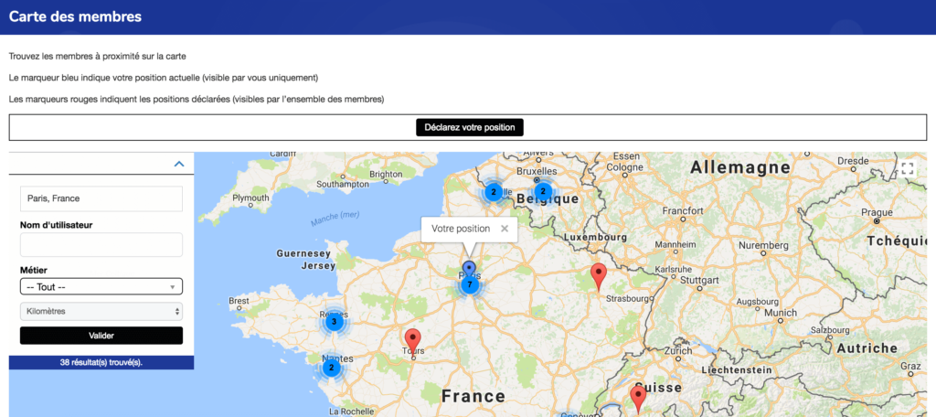 Geo my WordPress / Carte des membres BuddyPress