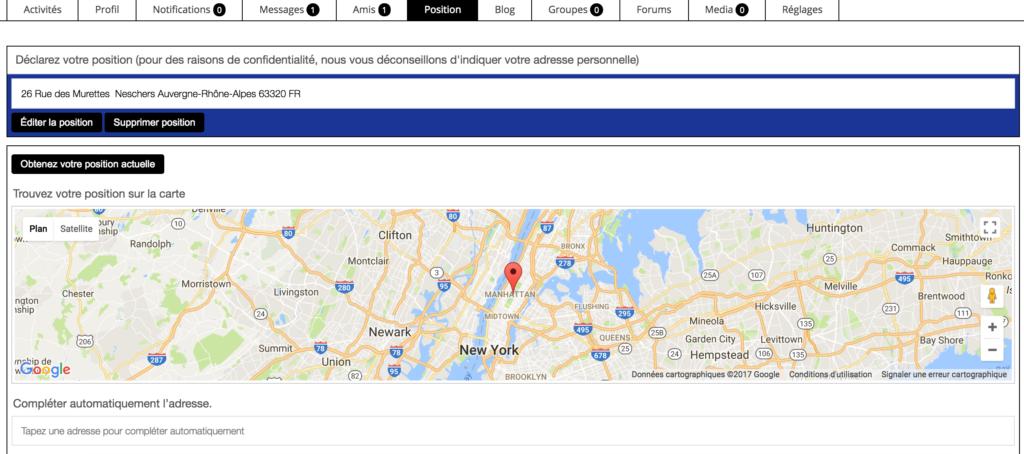 Geo-my WordPress / localisateur de membres BuddyPress