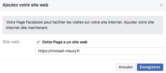 Page Facebook - site web
