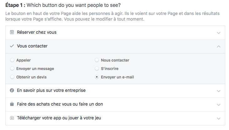 Page Facebook - bouton action
