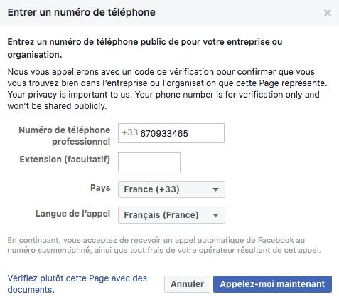 Page Facebook - demande de vérification