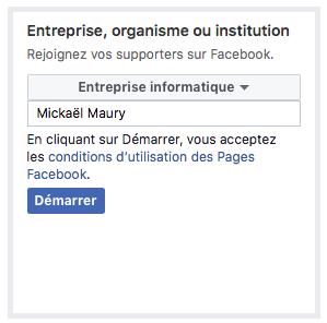 Titre entreprise, organisme ou institution page Facebook