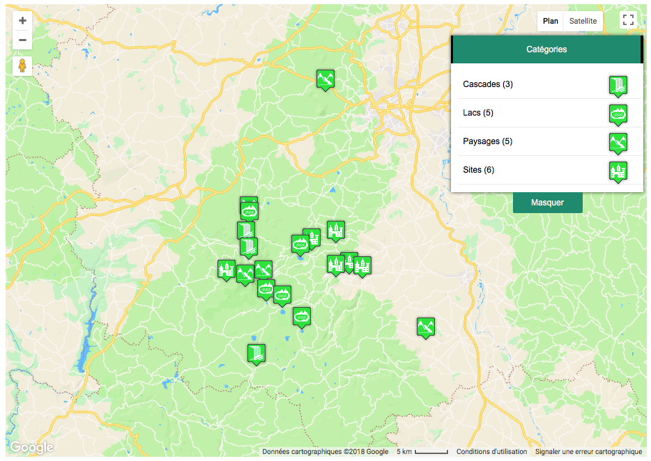 Exemple d'intégration Advances Google Maps Plugin For WordPress