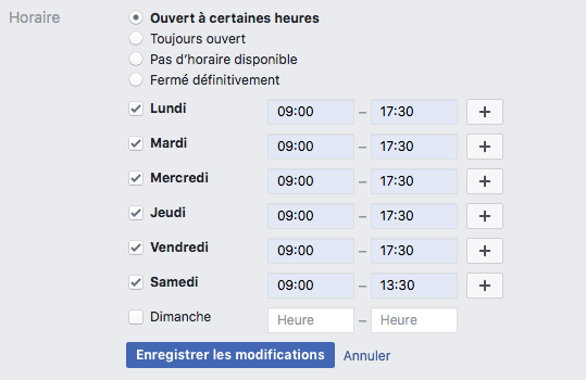 Page Facebook - horaires