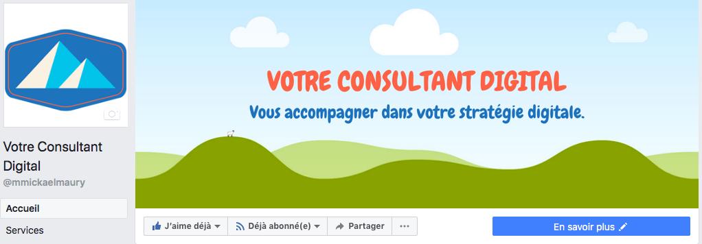 Page Facebook - header
