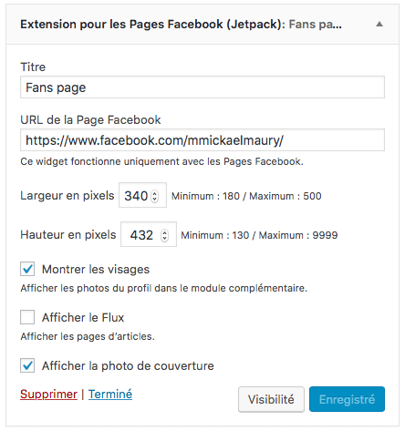 Extension pour les Pages Facebook (Jetpack)