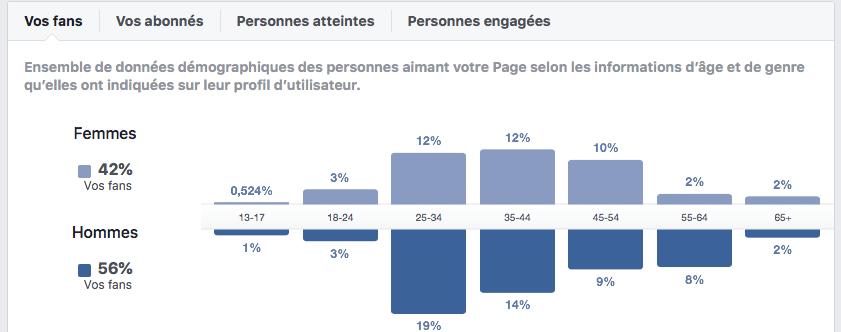 Facebook Insights - données démographiques