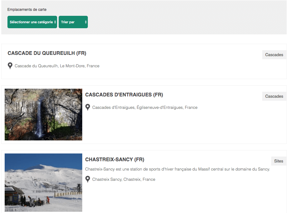 Advances Google Maps Plugin For WordPress - liste