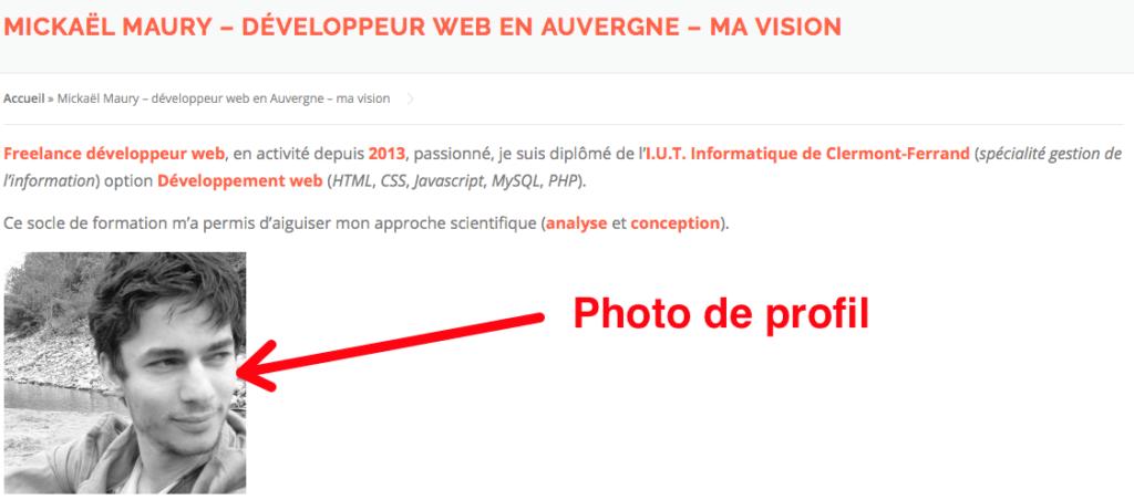 """Page """"A propos"""" - photo de profil"""