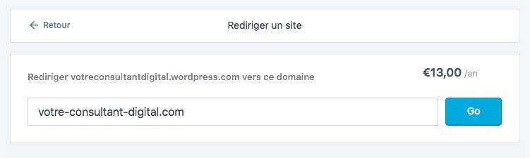WordPress.com - redirection de site - tarifs