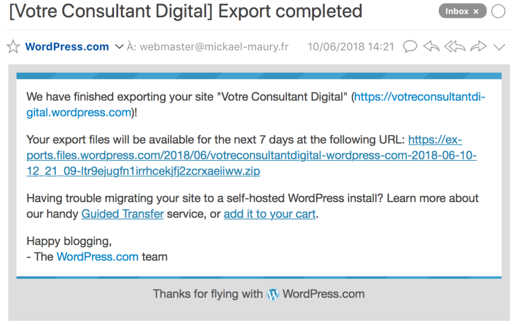 WordPress.com - email export completed