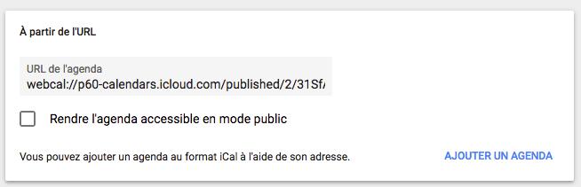 Google Agenda - importer calendrier iCal