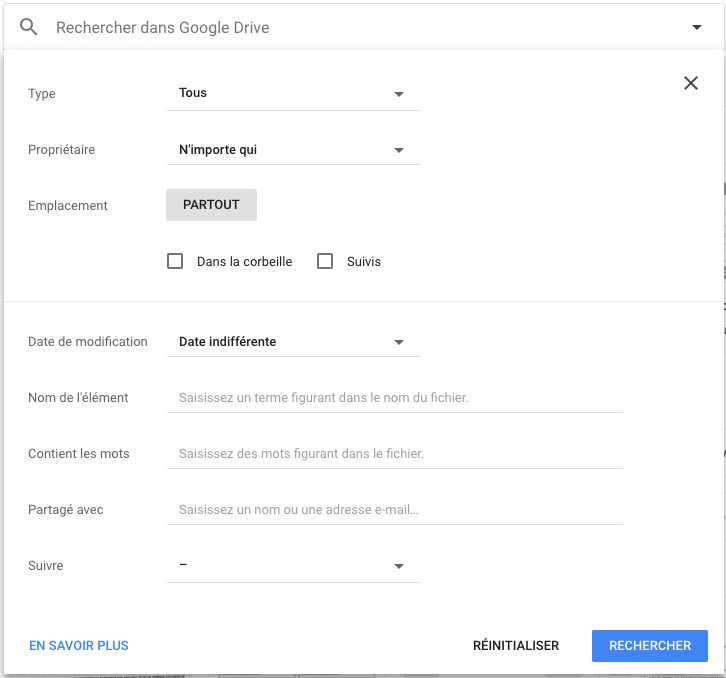 Google Drive - recherche avancée