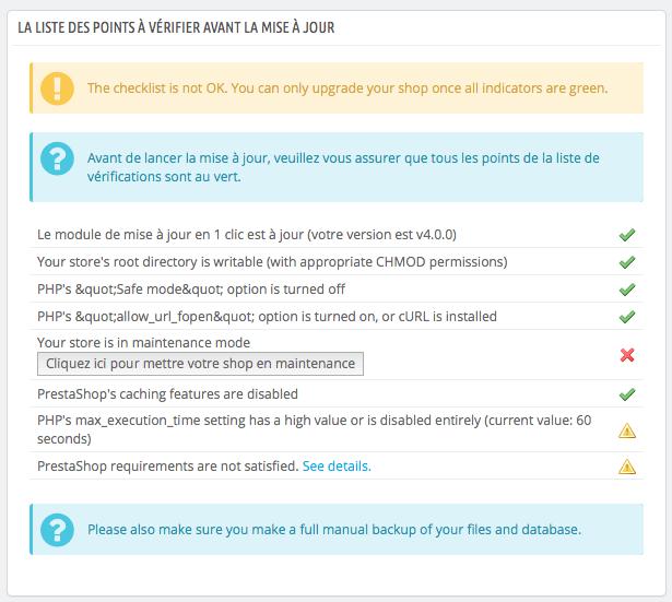 1 click upgrade - pré-requis
