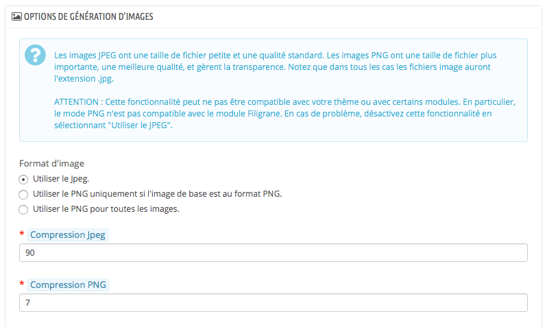 Prestashop - compression des images