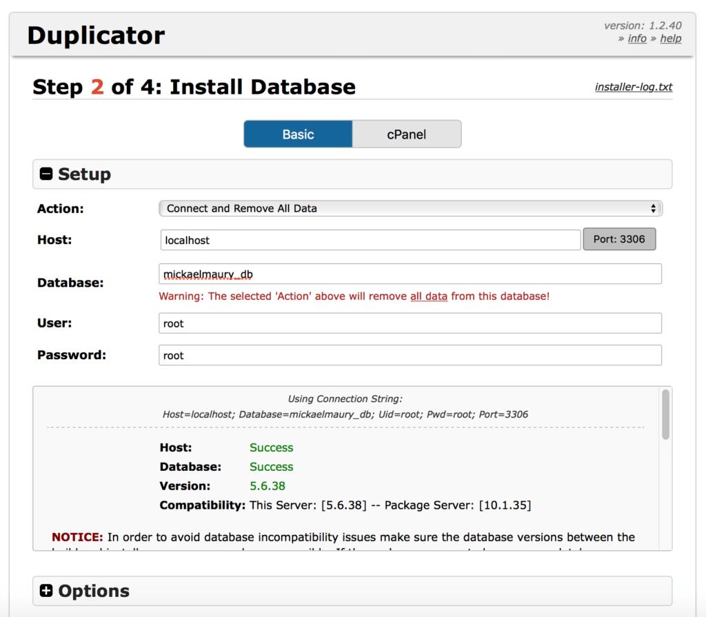 WordPress Duplicator - configuration de la base de données