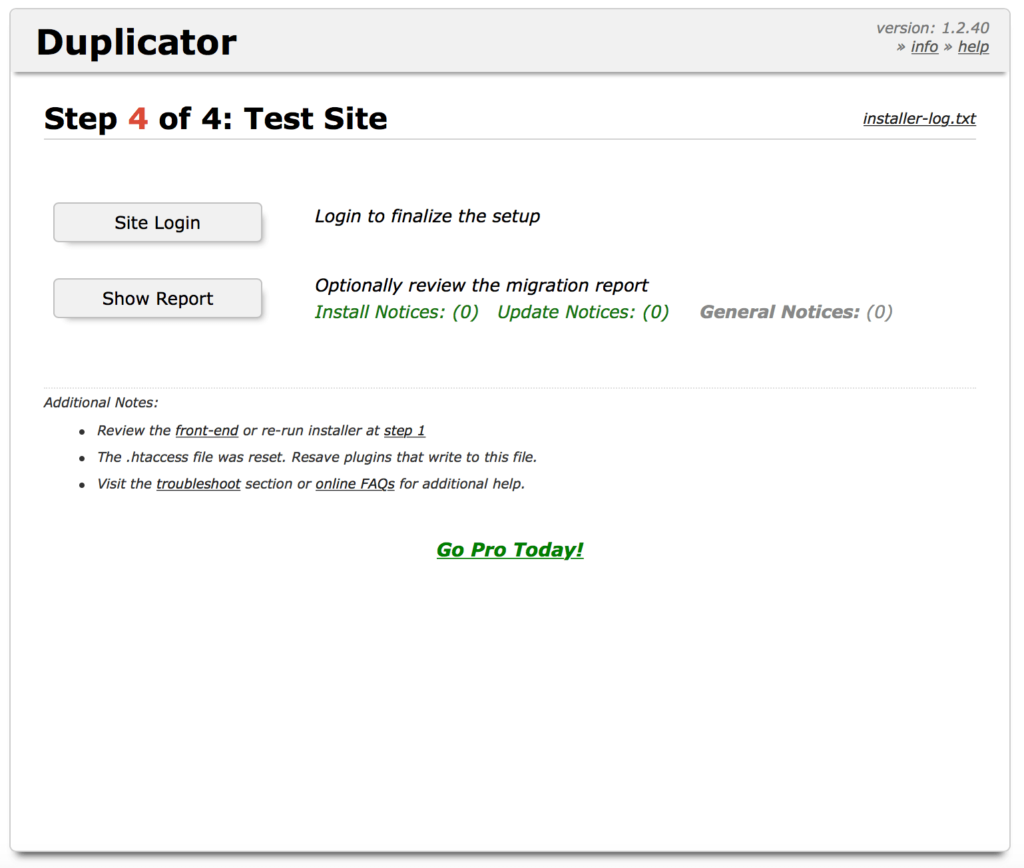 WordPress Duplicator - Test du site