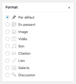 Formats d'articles WordPress