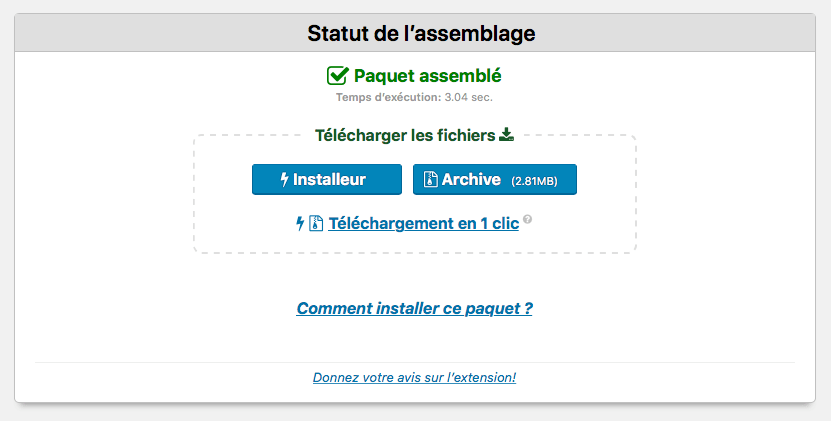 WordPress Duplicator - paquet assemblé