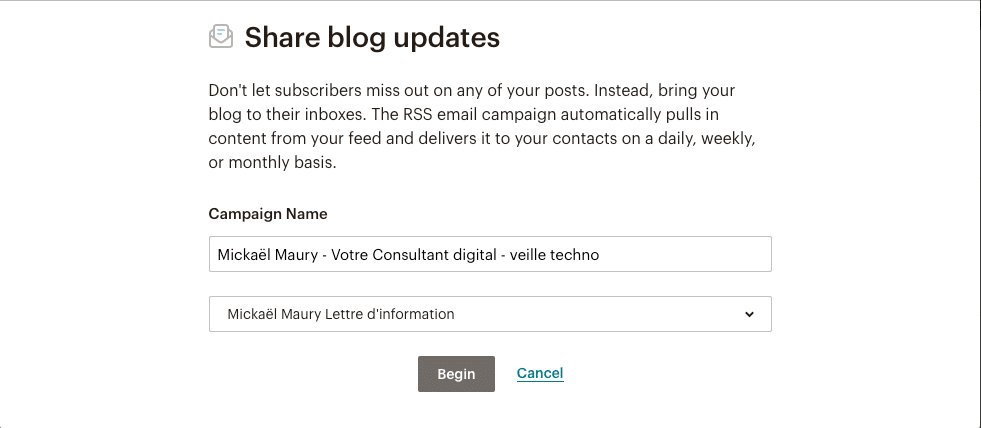 MailChimp - Share blog updates