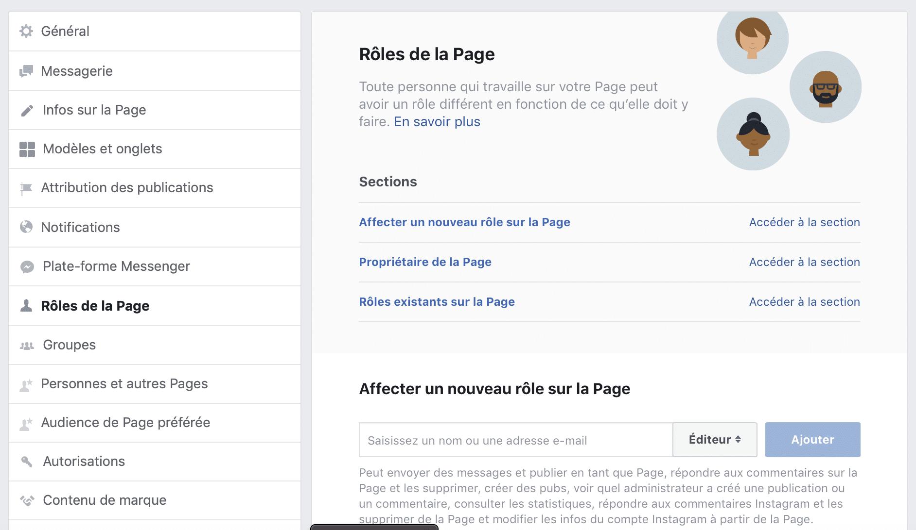 Page Facebook - rôles de la page
