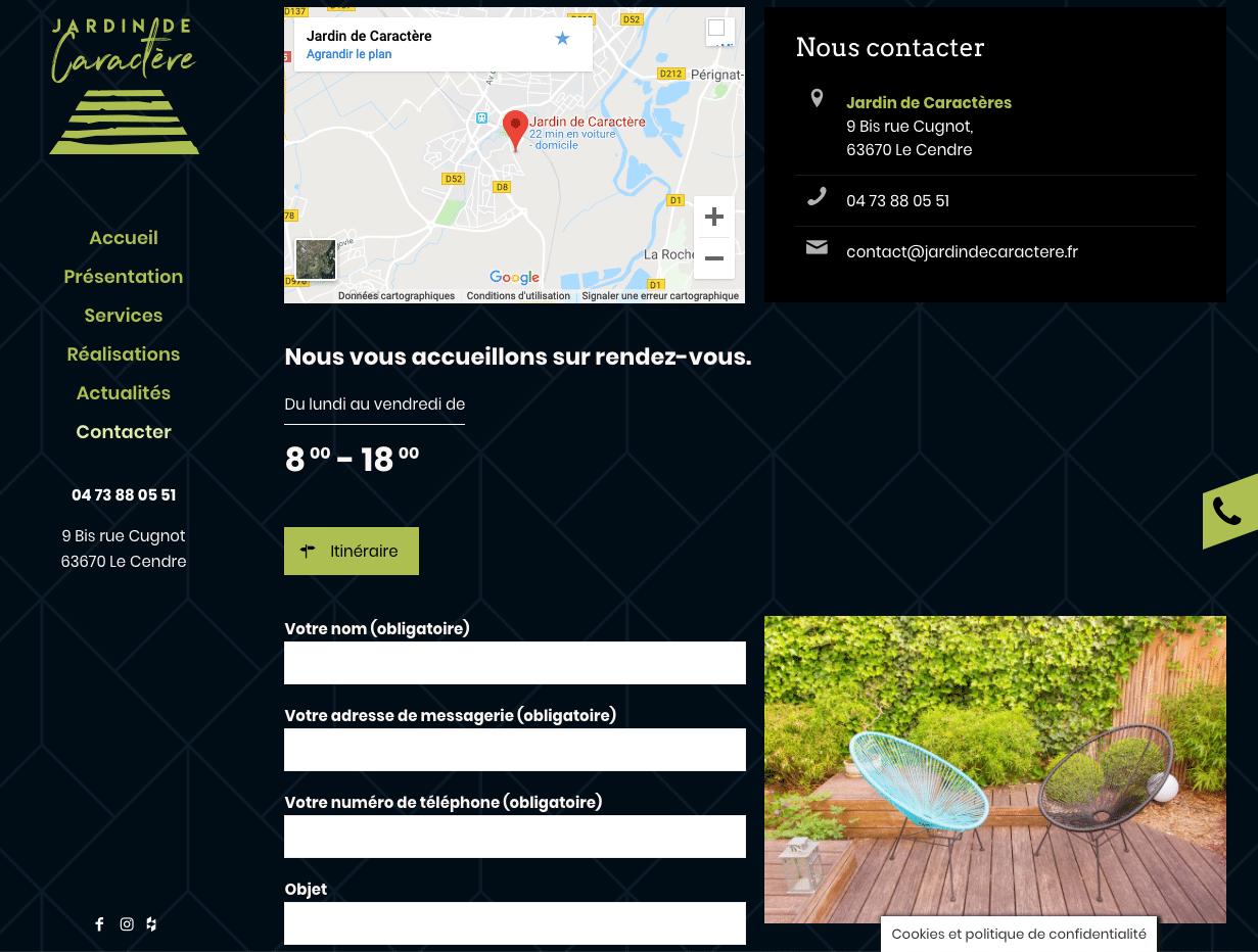 Jardin de Caractère - formulaire de contact