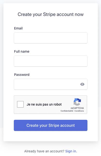 Stripe - création d'un compte