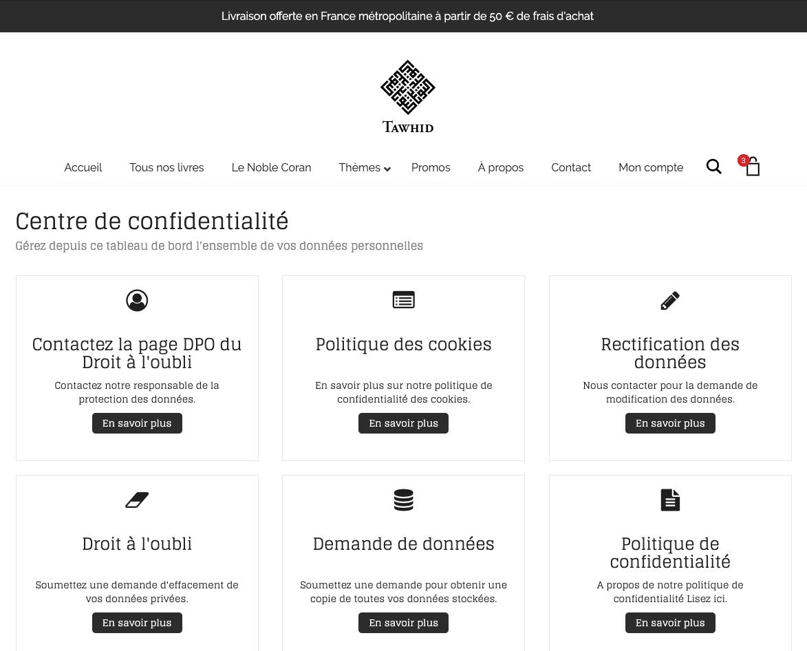 Edition Tawhid : Centre de confidentialité (RGPD)