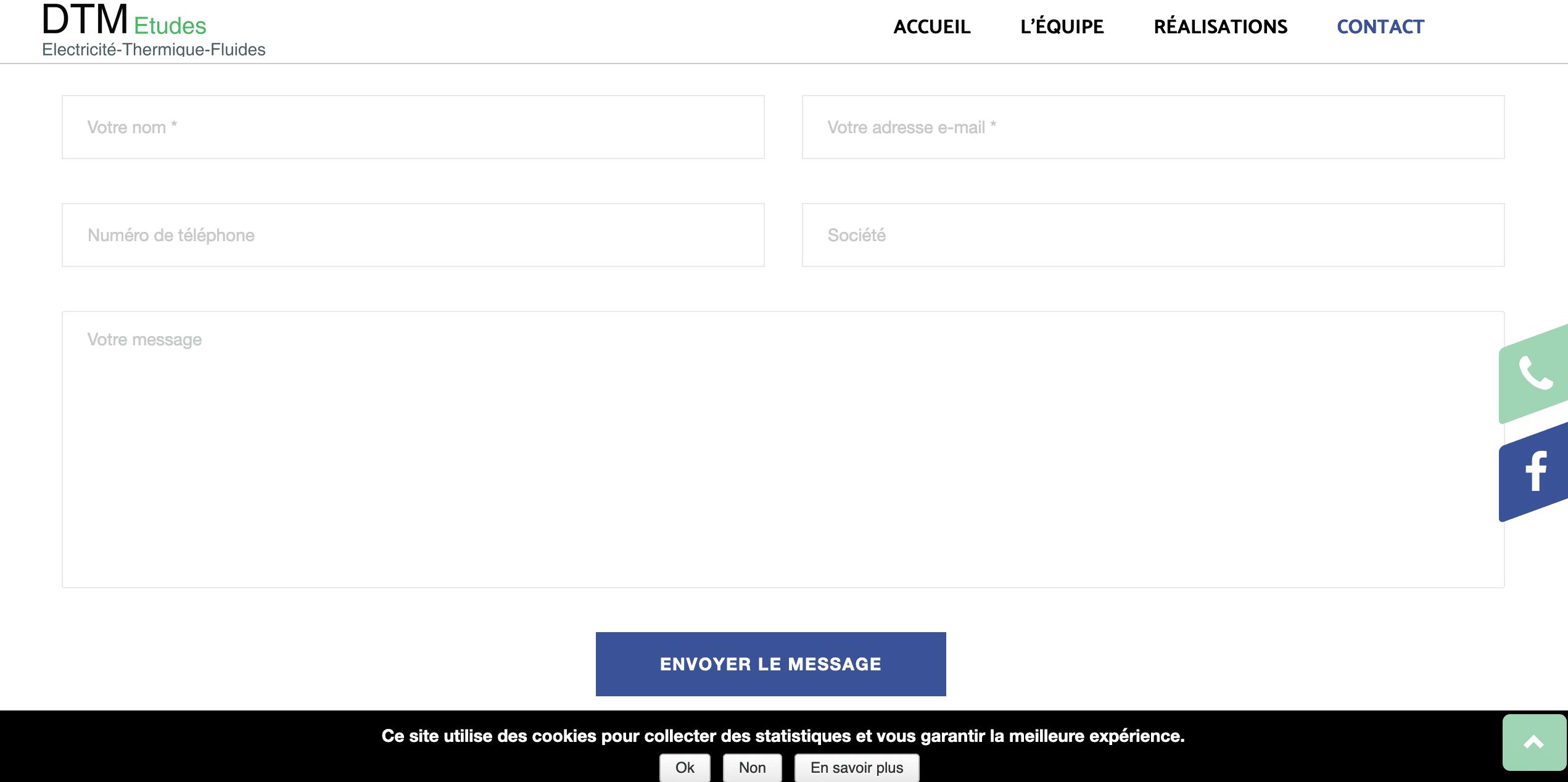 DTM Etudes - formulaire de contact