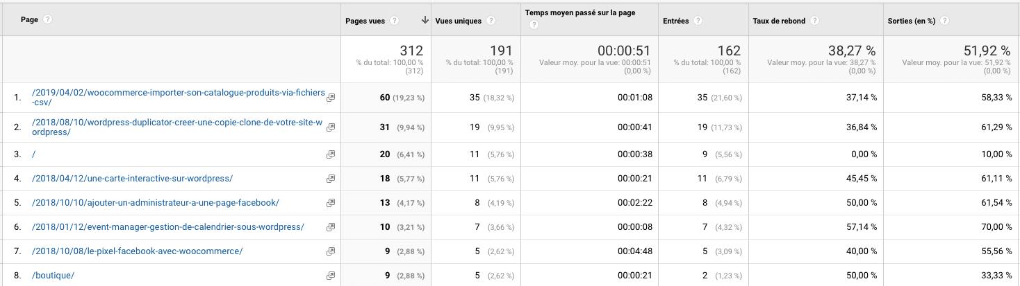 Statistiques Google Analytics - nombre de pages vues