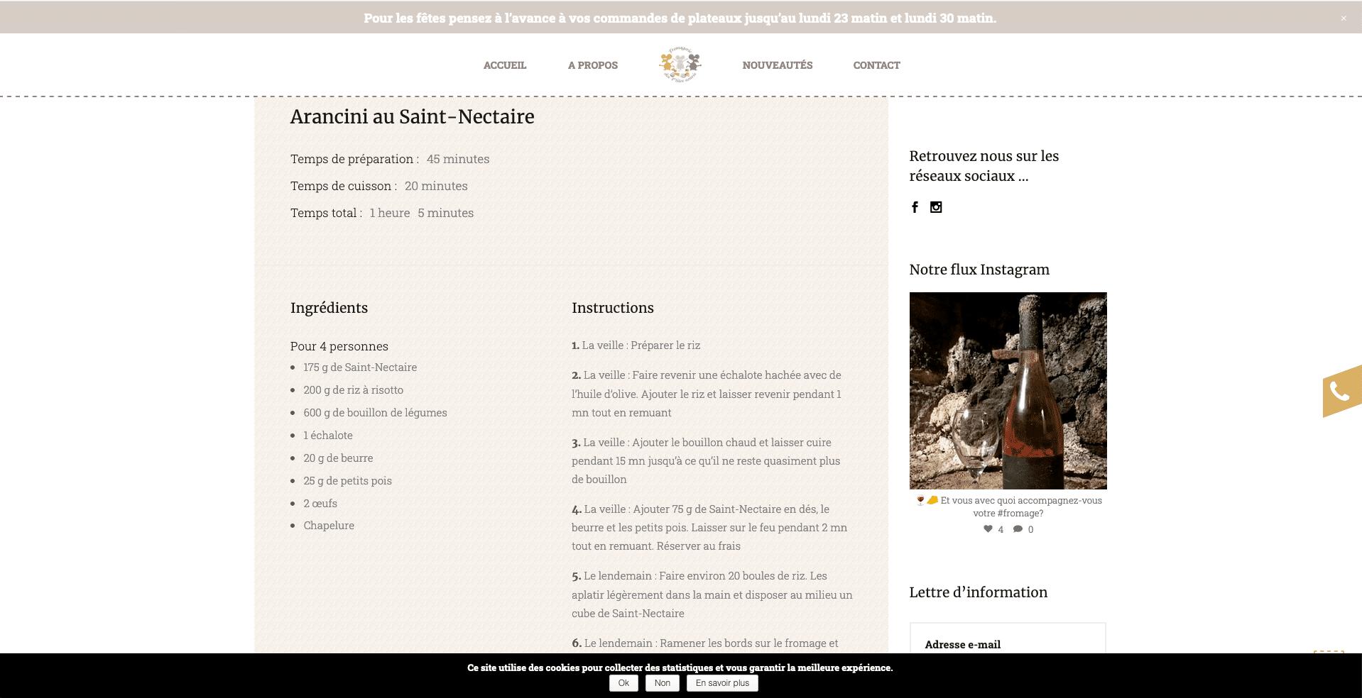 Fromagerie des P'tites Souris : recettes