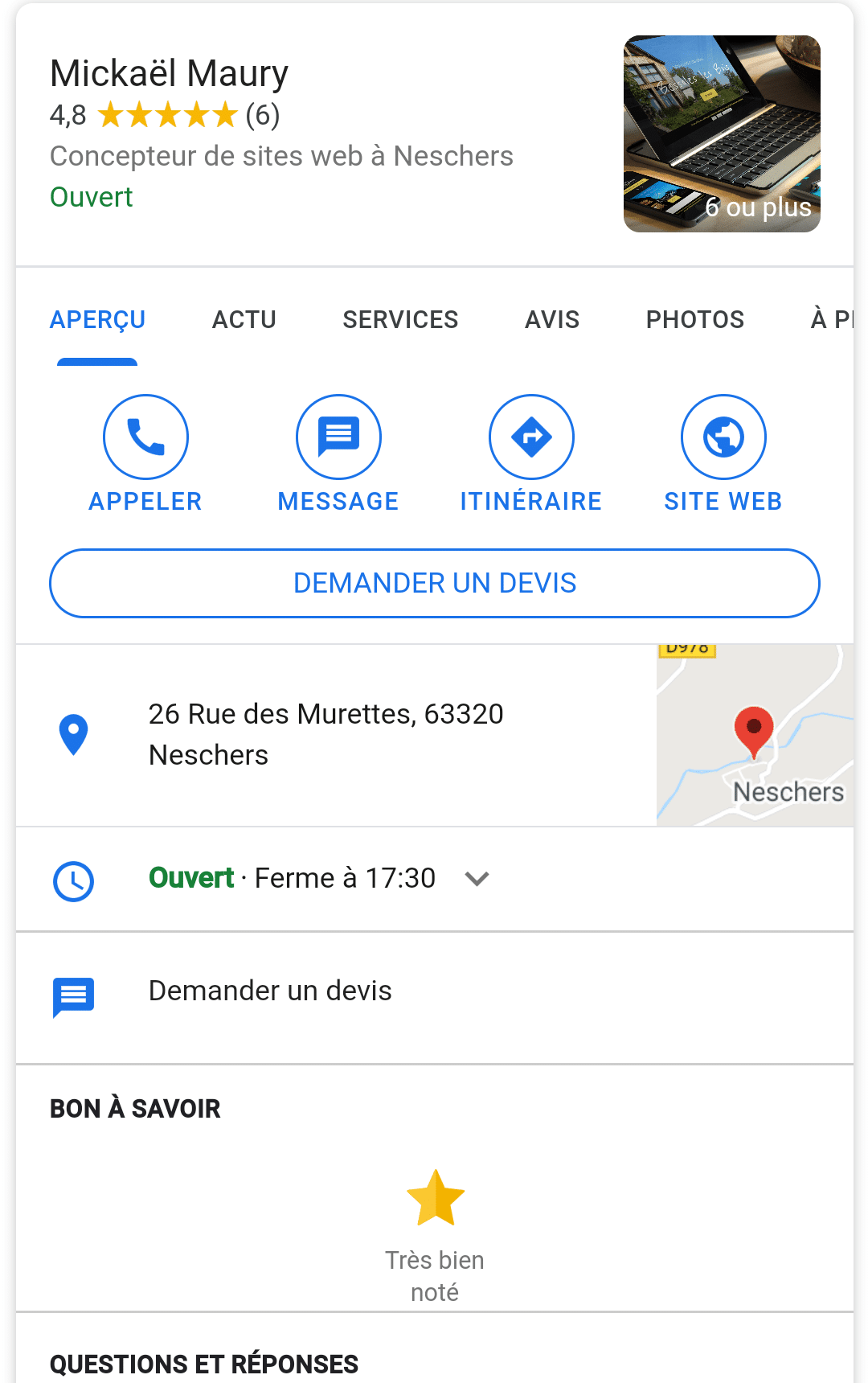 Fiche établissement Google My Business