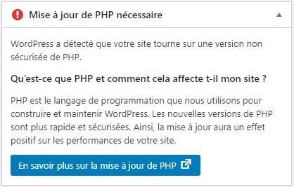 Mise à jour de PHP nécessaire