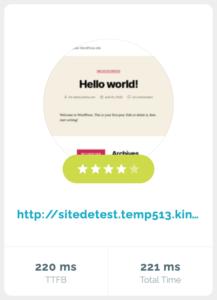Kinsta : TTFB - temps de réponse serveur