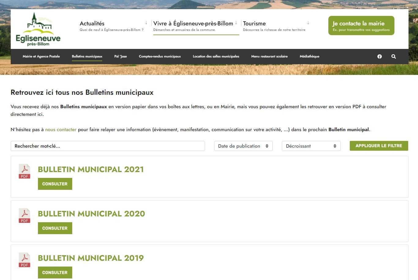 Mairie d'Egliseneuve-près-Billom : bulletins municipaux