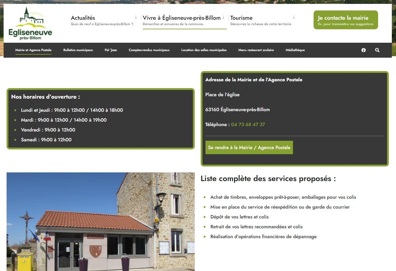 Mairie d'Egliseneuve-près-Billom : coordonnées