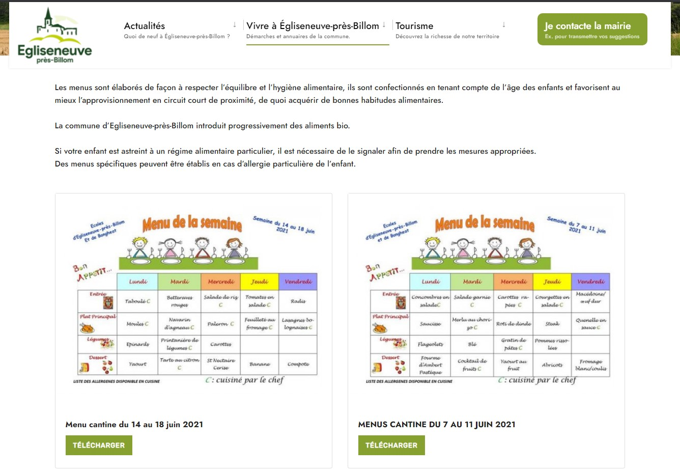 Mairie d'Egliseneuve-près-Billom : menu de la cantine scolaire