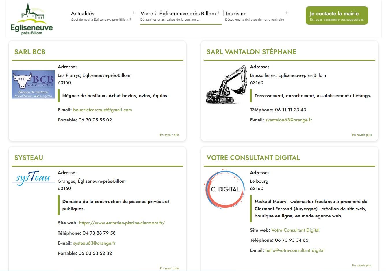 Mairie d'Egliseneuve-près-Billom : professionnels et associations de la commune